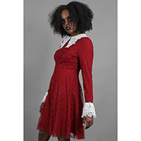Weird Sisters Lace Collar Fit & Flare Dress by Jawbreaker - red - SALE