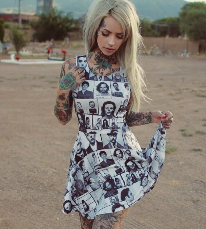Serial Killer Mugshot True Crime Skater Dress by Western Evil