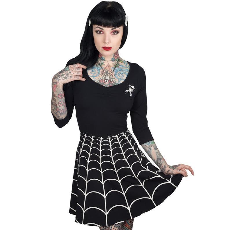 Spiderweb Flared Skater Dress by Kreepsville 666 - White Web