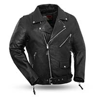 Fillmore Naked Cowhide Premium Motorcycle Jacket (Black) by First MFG