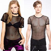 Unisex Short Sleeve Black Fishnet Top by Tripp NYC