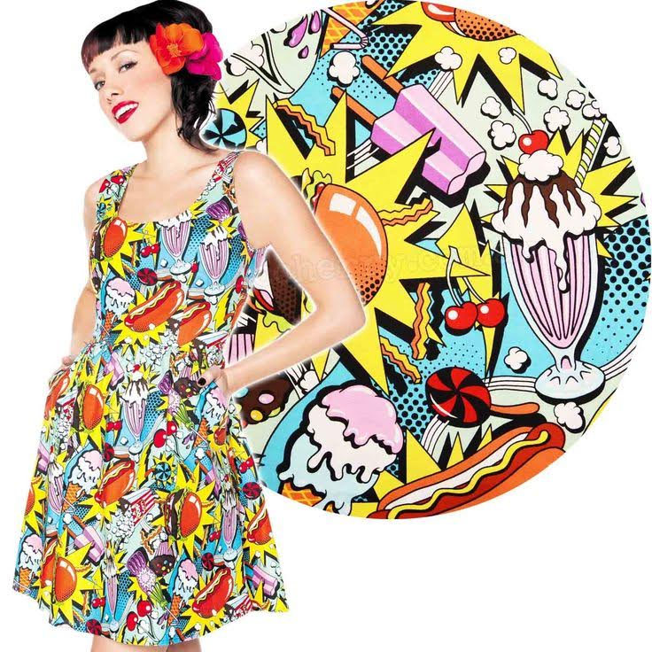 Snack Attack Pop Print Dress by Folter / Retrolicious