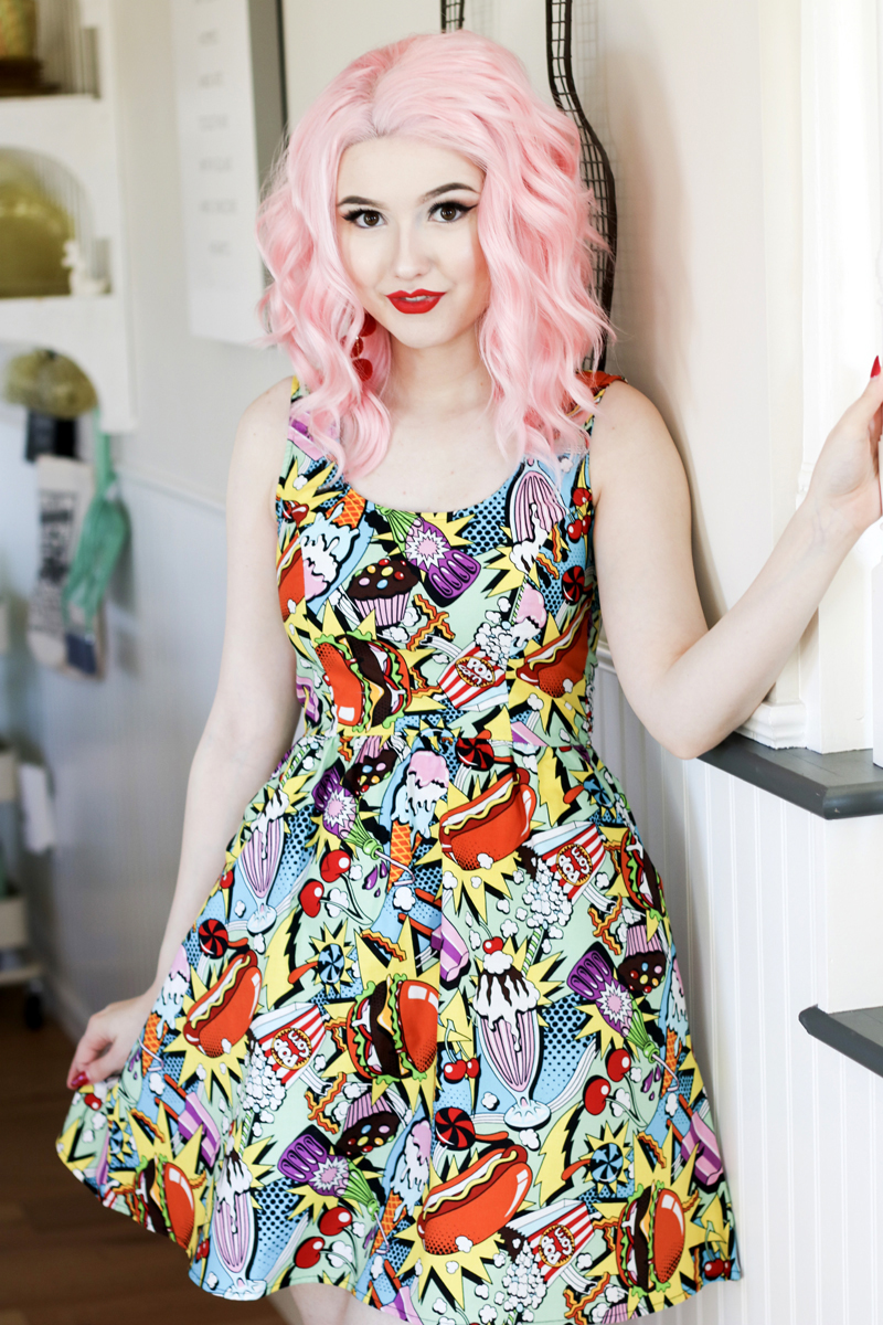 Snack Attack Pop Print Dress by Folter / Retrolicious - SALE