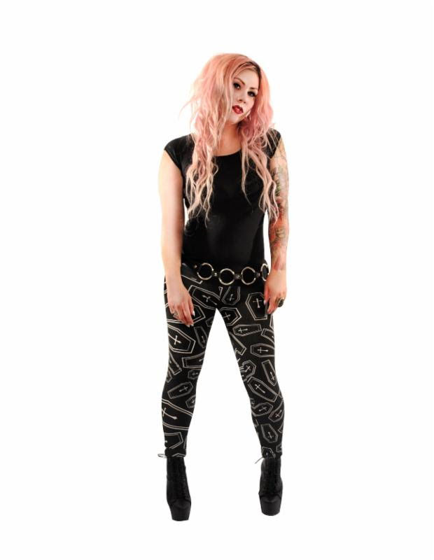 RIP Leggings by Folter - Coffin Print - SALE sz L only