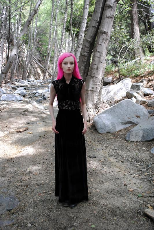 Black Magic Long Velvet Skirt by Folter - SALE