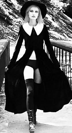 High Priestess Black Velvet Coat by Folter