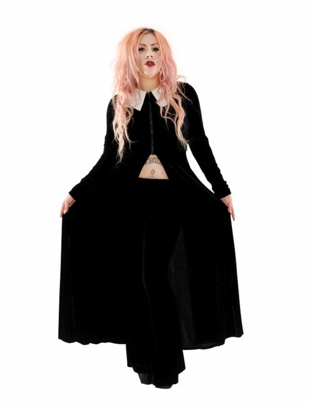 High Priestess Black Velvet Coat by Folter - SALE sz M only