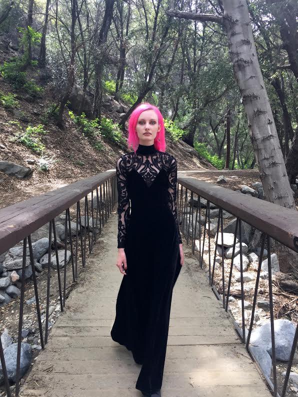 Secret Society Long Sleeve Velvet Dress by Folter