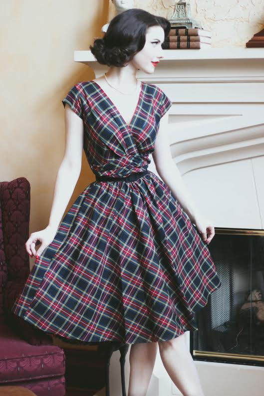 Eleanor Holiday Swing Dress by Folter - Red Tartan Plaid - SALE sz 4X only