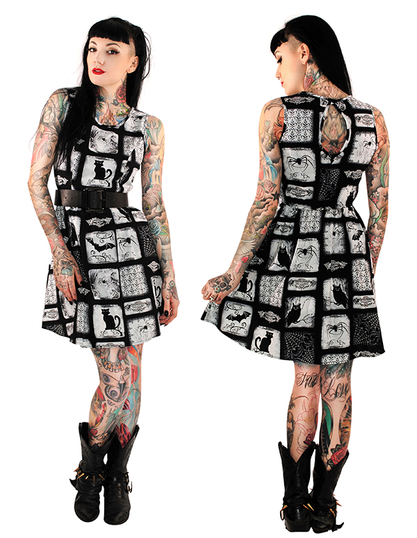 Macabre Cats & Bats Dress by Folter - SALE sz S only