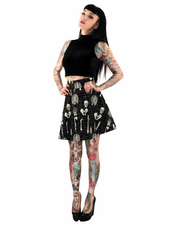 Anatomically Correct Skater Skirt by Folter - glows in the dark