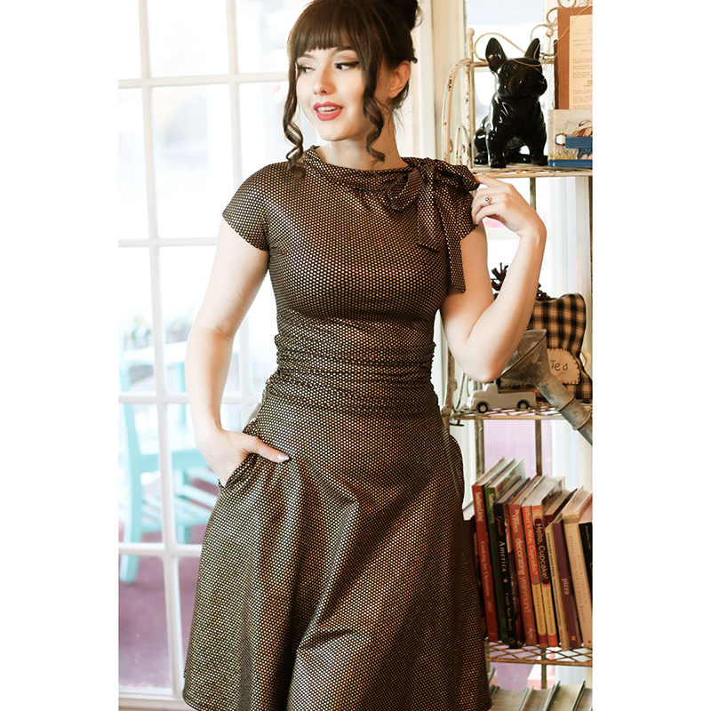 Gold Star Bombshell Dress by Folter / Retrolicious - SALE sz S & 2X only