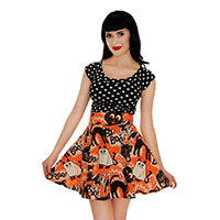 Scaredy Cat Skater Skirt by Retrolicious