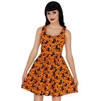 Pumpkins & Cats Halloween Skater Dress by Folter / Retrolicious - SALE sz 3X & 4X only
