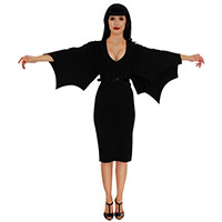 Creature of the Night Bat Wing Sleeve Wiggle Dress by Folter - SALE