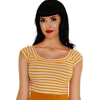 Boat Neck Top by Retrolicious - in mustard yellow & white stripe
