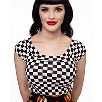 Boat Neck Top by Folter / Retrolicious - in black & white checkers - sz 4 X only