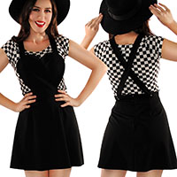 Boat Neck Top by Folter / Retrolicious - in black & white checkers