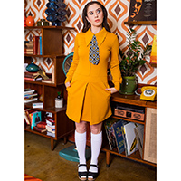 Twiggy Mod 60's Dress by Retrolicious - Mustard Ponte