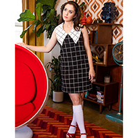 London Calling Sleeveless Mod Dress by Retrolicious - Black & White Plaid