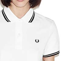 Fred Perry Twin Tipped Girls Polo Shirt- WHITE/BLACK