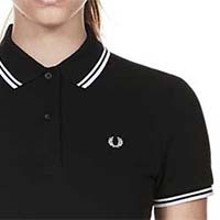 Fred Perry Twin Tipped Girls Polo Shirt- BLACK/WHITE