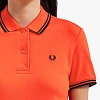 Fred Perry Twin Tipped Girls Polo Shirt- FIERY RED (Sale price!)