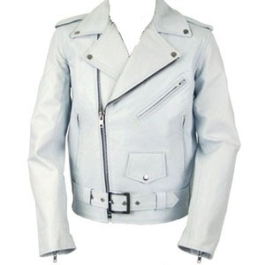 Motorcycle Jacket- WHITE leather
