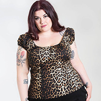 Plus Size Leopard 50's Uma Top by Hell Bunny