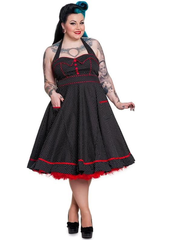 Vanity Plus Sized Polka Dot Swing Dress by Hell Bunny - in Black