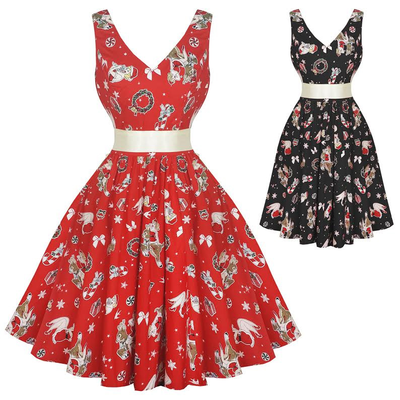 Blitzen Holiday 50s Plus Size Dress By Hell Bunny Black Sale