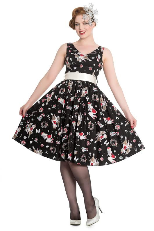 Blitzen Holiday 50's Dress by Hell Bunny - Black - SALE