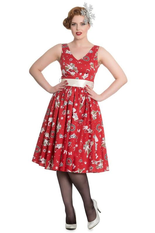 Blitzen Holiday 50's Dress by Hell Bunny - Red - SALE