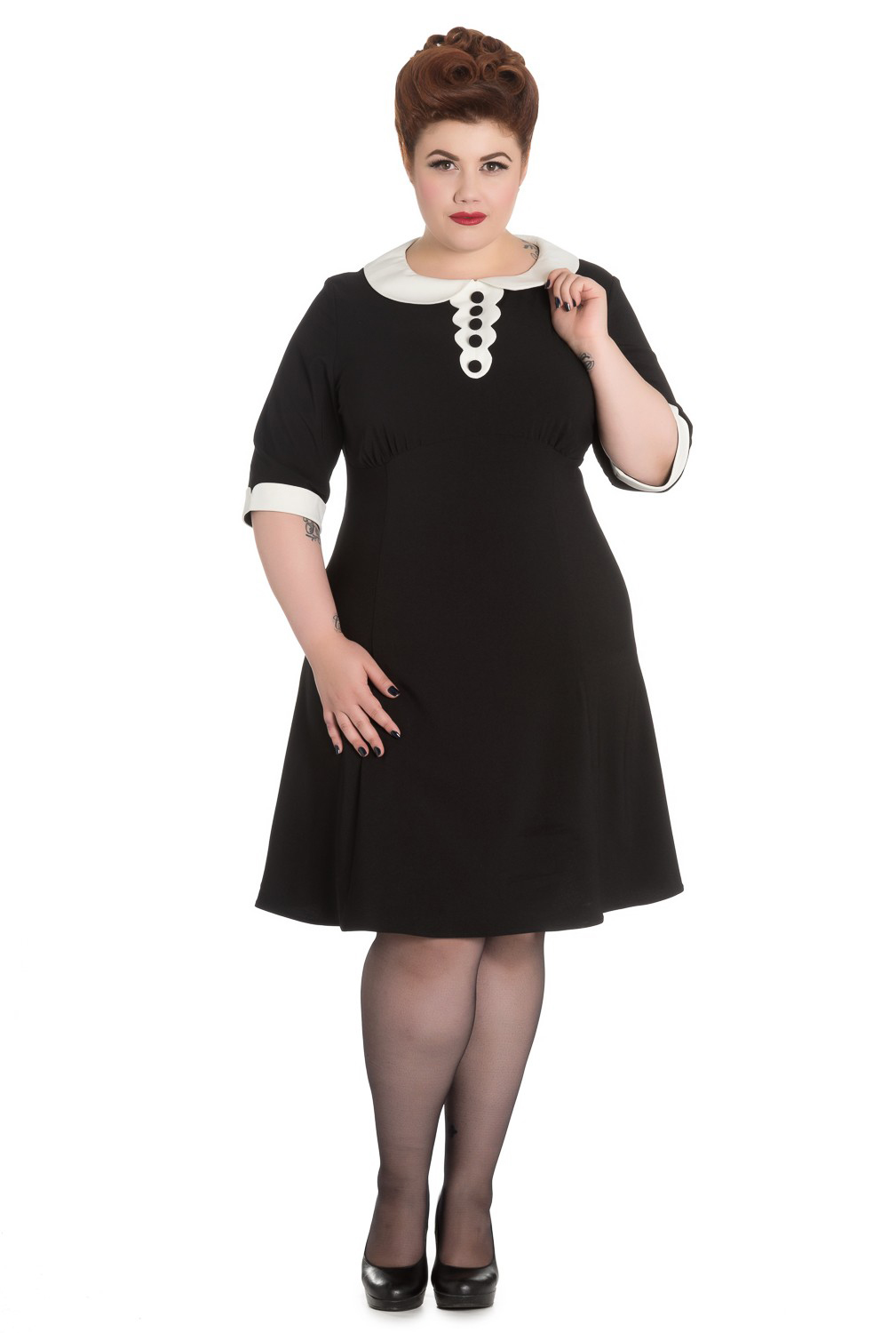 Magpie Plus Sized Mini Dress by Hell Bunny