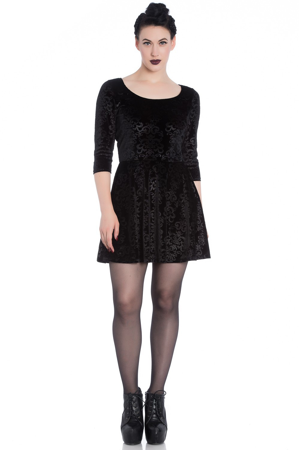 Margot Dress by Hell Bunny / Spin Doctor - Black Filigree Velvet - SALE