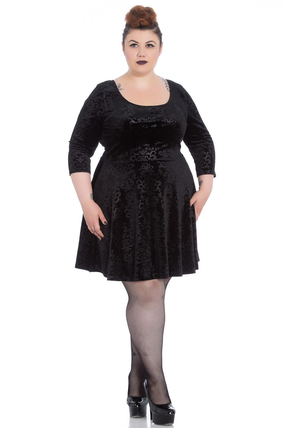 Margot Plus Sized Skater Dress by Hell Bunny / Spin Doctor - in Black Velvet Filagree - SALE