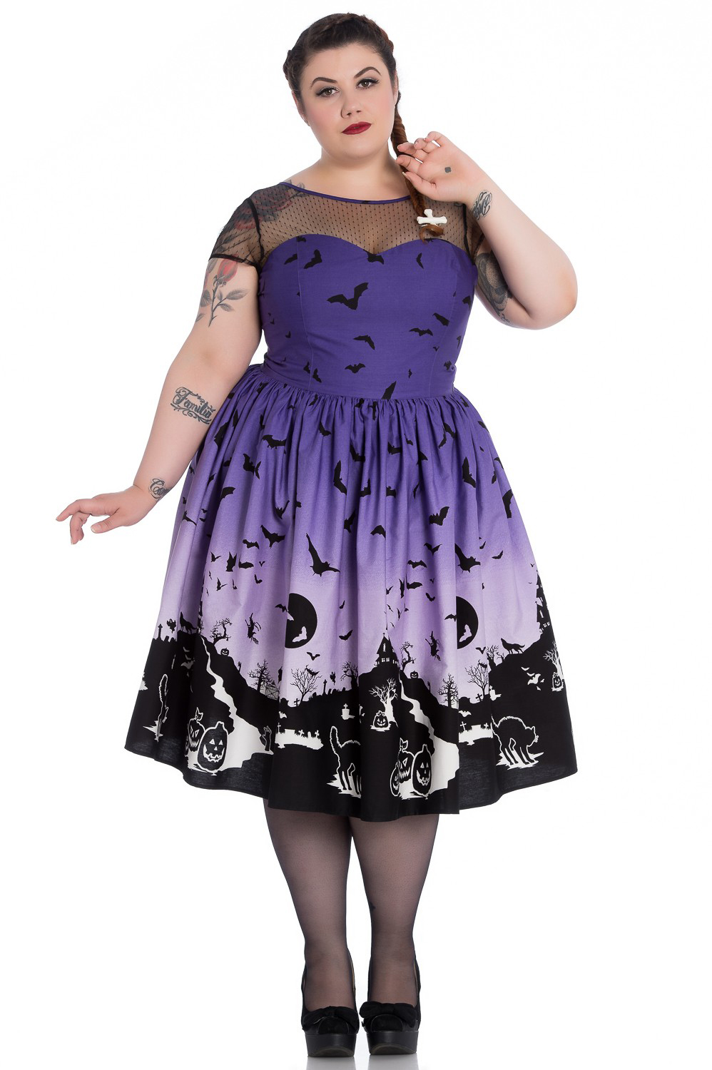 Haunt 50's Halloween Plus Sized Dress by Hell Bunny - SALE