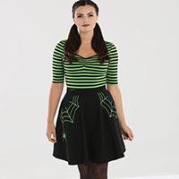 Miss Muffet Spiderweb Mini Skirt by Hell Bunny - Green Web