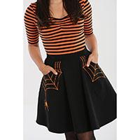 Miss Muffet Spiderweb Mini Skirt by Hell Bunny - Orange Web
