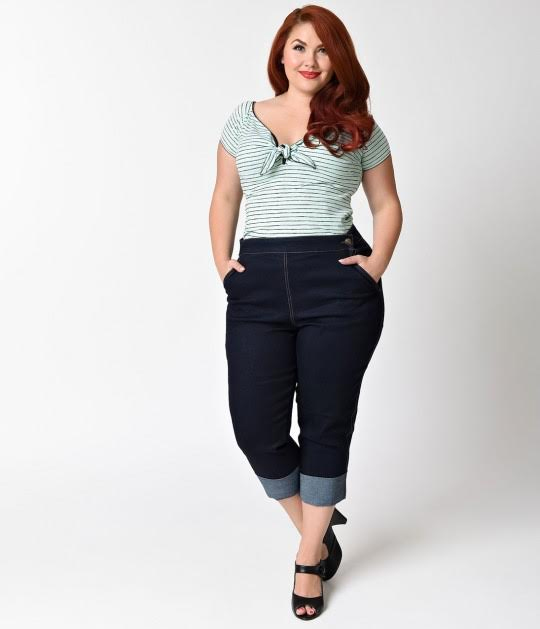 Plus Size Ronnie Denim Capris by Hell Bunny - blue - SALE