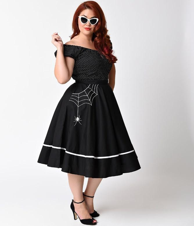 Plus Size Miss Muffet Spiderweb Swing Skirt by Hell Bunny - black