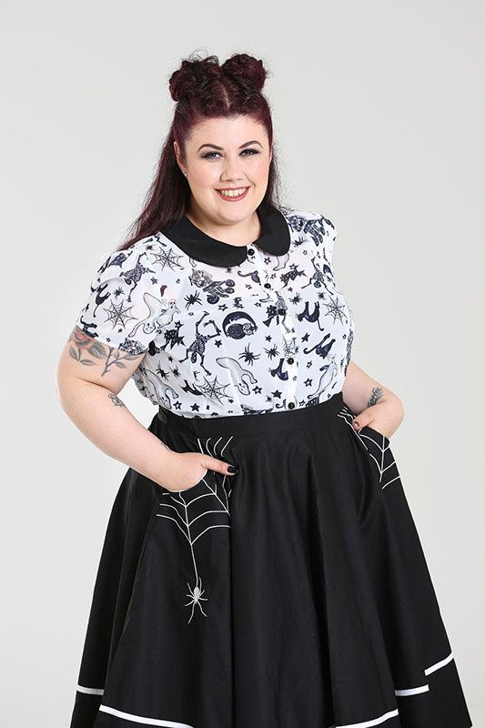 8009c934eaaa3d Plus Size Miss Muffet Spiderweb Swing Skirt by Hell Bunny - black. »