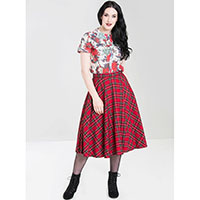 Irvine Red Tartan 50's Skirt by Hell Bunny