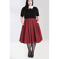 Plus Size Irvine 50's Red Tartan Skirt by Hell Bunny