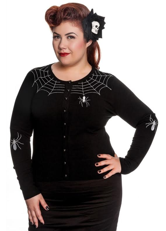 Plus Size Spider Cardigan by Hell Bunny - In Black