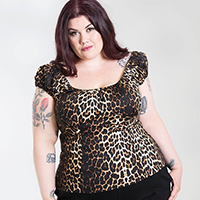 Plus Size Uma 50's Top by Hell Bunny - Leopard Print