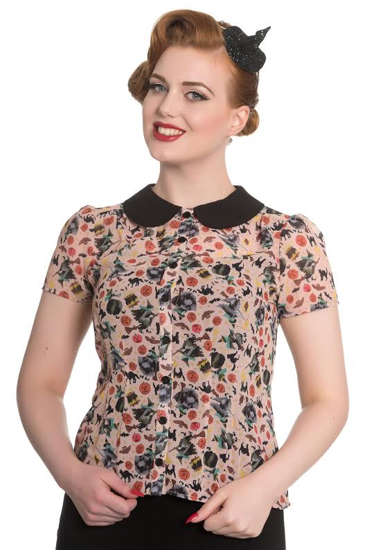 Witchy Print 50's Top by Hell Bunny- Peach with Black Collar