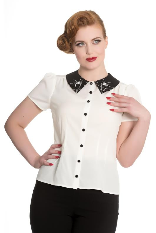 Miss Muffet Spiderweb 50's Top by Hell Bunny - Cream with Black Collar - SALE