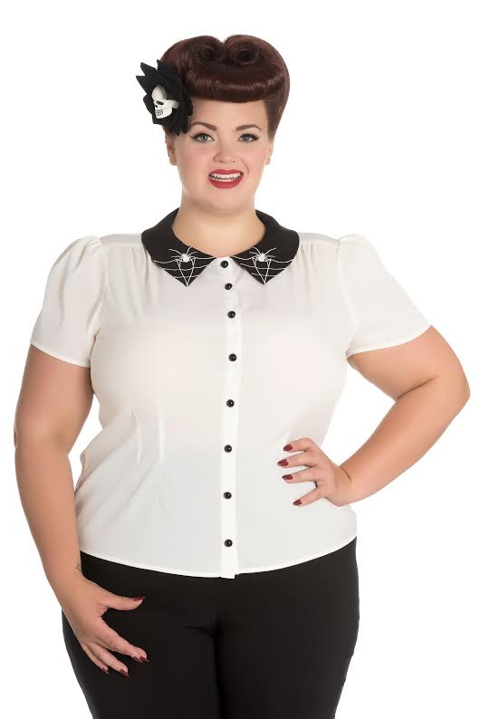 Plus Size Miss Muffet Spiderweb 50's Top by Hell Bunny - Cream with Black Collar - SALE