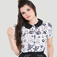 Chiffon 50's Spooky Blouse by Hell Bunny - last one size XL only - SALE